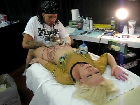vagina tattoo - Danni Girl getting tattooed by Rooster of Prick Tattoo's San Antonio Texas at the 5th Annual Alamo City Tattoo Show, San Antonio Texas 2009!