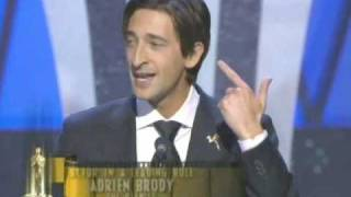 """Adrien Brody winning an Oscar® for """"The Pianist """""""