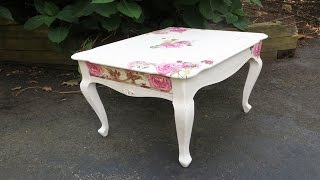 How to Decoupage Furniture with Napkins a Table - YouTube