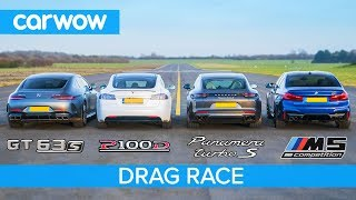 Video Tesla Model S v AMG GT 4 v BMW M5 v Porsche Panamera Turbo S - DRAG RACE, ROLLING RACE & BRAKE TEST MP3, 3GP, MP4, WEBM, AVI, FLV Juni 2019