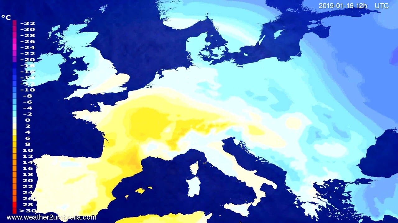 Temperature forecast Europe 2019-01-14