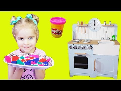 Sofia pretend play kitchen toy play set for kids / Play Doh Magic cookies  baking