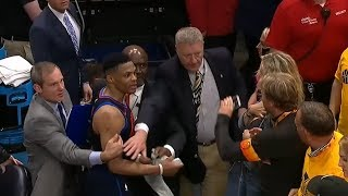 Russell Westbrook Swipes Phone Out of Fan's Hand | Thunder vs Jazz - Game 6 | 2018 NBA Playoffs