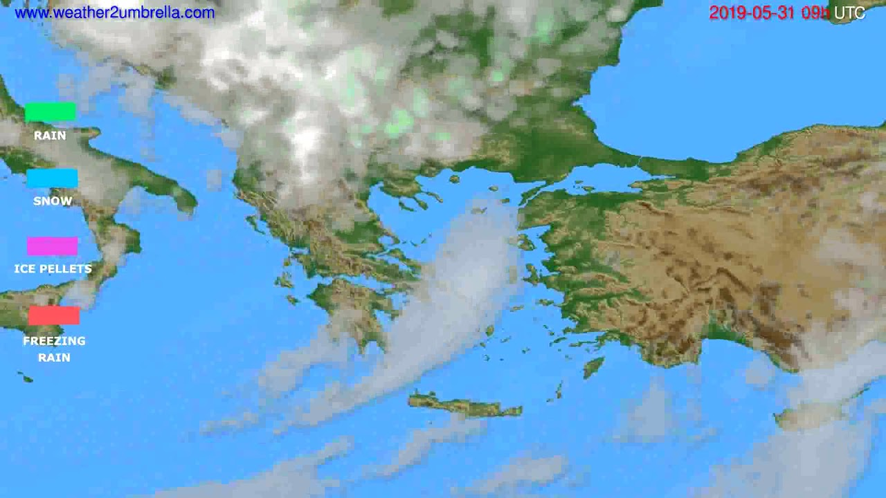 Precipitation forecast Greece // modelrun: 00h UTC 2019-05-29
