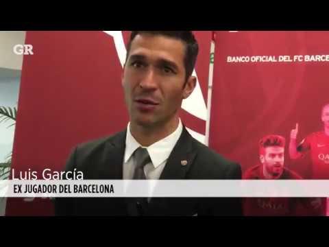 Luis Garcia en el acto de acuerdo entre el FCBarcelona y Scotiabank