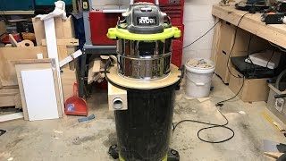 I had been thinking over this design for a while now. I wanted to make a dust separator that didn't have a hose or pipe connecting it to the shop vac, and I wanted it to be a single unit to make it easy to move around and take up less space. I watched a lot of other people's take on dust separators but the 2 that really helped me with this design were Cosmas Bauer and Matthias Wandel.This was the simplest solution I could think of and the cheapest, buying only the bucket and using scrap plywood for the rest. I am very happy with how it turned out. It works great and its not overly bulky or fiddly with hoses or wooden frames going everywhere. And it just so happened that the base of the bin fits inside the wheels of my Ryobi shop vac! My shop vac:http://www.ryobi.co.nz/power-tools/products/details/1500w-30l-wet-dry-vacuumSubscribe to my channel:https://www.youtube.com/lastminutethoughtsFollow me on Facebook: https://www.facebook.com/theoffcutFollow me on Instagram:https://www.instagram.com/theoffcut_nzMusic by: Favormusikhttps://soundcloud.com/favormusik