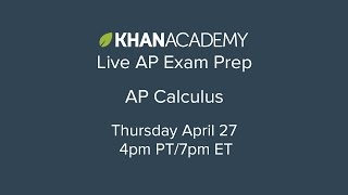 Taking AP Calculus? Prep for the exam with our free live tutoring session. Dave, one of our calculus experts, will review key concepts, solve sample questions, and share ways to avoid common mistakes.Prep for your AP Calculus exams on Khan Academy: https://www.khanacademy.org/math/ap-calculus-abhttps://www.khanacademy.org/math/ap-calculus-bc