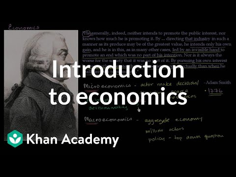 economics - Basic introduction to what microeconomics and macroeconomics study. A bit on Adam Smith.