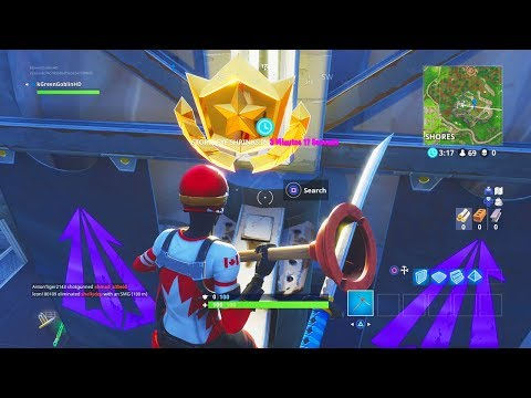 *NEW* BONUS BATTLE STAR LOCATION WEEK 4 ALL CHALLENGES GUIDE! FORTNITE TIPS AND TRICKS! (видео)
