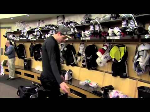Crosby - In the locker room before leaving for olympics.