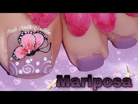 Diseños de uñas - Diseño de uñas sencillo de hacer con mariposa/Diseño de uñas tonos pasteles/Diseño de uñas pie