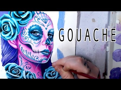 Gouache Painting | Sugar Skull Girl By Carissa Rose