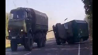 Truck Nearly Crushes 2 Cars