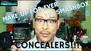 """In this part 4 of my brand new 6-part series, I am sharing my FIRST IMPRESSIONS OF MAKE UP FOR EVER VS SMASHBOX CONCEALERS in a step by step side by side comparison vlog! These are my current faves and this series will showcase all products for oily skin and hot humid climates so make sure you are subscribed and your notifications are ON!Remember to click on the THUMBS UP TAB if you liked this video and leave me a comment down below!  SUBSCRIBE TO MY BEAUTY CHANNEL RIGHT HERE for weekly Beauty Demos, Product Reviews, Makeup Tutorials, and MORE! http://bit.ly/1pX0dBgWould YOU like to be updated on my newest Online Courses , Makeup Classes & Seminars? Sign up here http://bit.ly/2axZUOpCHECK OUT SOME OF MY OTHER AMAZING BEAUTY DEMOS HERE-Best Primers for Oily Skin & Large Pores  Current Faves Pt 1 of a 6 Pt Serieshttp://bit.ly/2qThssdBest Foundation for Oily Skin & Large Pores  Current Faves Pt 2 of a 6 Pt Serieshttp://bit.ly/2sPmIScBest Full Coverage Concealers for Oily Skin  Current Faves Pt 3 of a 6 Pt Serieshttp://bit.ly/2srijn6FOLLOW ME on FACEBOOK every Wednesday at 5pm PST during my LIVE Q&A on my Fan Page http://www.facebook.com/mathias4makeupLucky for you I am the only Pro Makeup Artist on YouTube that offers private makeup lessons as well! I teach one on one personal makeup lessons in L.A. at my studio or live over video conference from home, check out my vlog about how you and I can work together! http://bit.ly/1I0Eww3EXCLUSIVE PURCHASE LINKS TO THE ITEMS I RECOMMEND IN THIS STEP BY STEP TUTORIAL RIGHT HERE-MAKE UP FOR EVER FULL COVERAGE CONCEALERS Sephora http://bit.ly/1NHG3aGSMASHBOX STUDIO SKIN 24-HOUR WEAR WATERPROOF CONCEALERS SEPHORA http://go.magik.ly/ml/5op5/LIKE MY EYEWEAR??? BUY YOUR OWN FRAMES AT FIRMOO HERE!FIRMOO EYEWEAR- Please use my affiliate link to get Free Shipping Worldwide for orders over $55http://bit.ly/2mepvktMY PERSONAL FILMING EQUIPMENT AND ACCESSORIES-Diva Ring Light Super Nova 18"""" Dimmable Ring Light http://amzn.to/29QMj2ZCowboy S"""