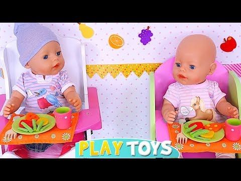 Baby Born Twin Dolls Cooking with Kitchen Toys! 🎀 видео