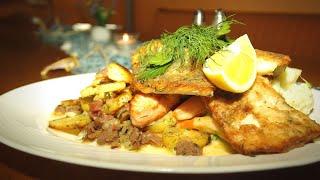 Fischplatte von Ostseefisch   gebratenen Dorsch, Zander, Lachs und Seelachs