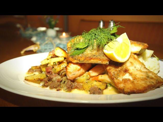 Fischplatte von Ostseefisch | gebratenen Dorsch, Zander, Lachs und Seelachs