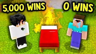 NOOB WITH 0 WINS CARRIED BY PRO MINECRAFT BED WARS PLAYERS!