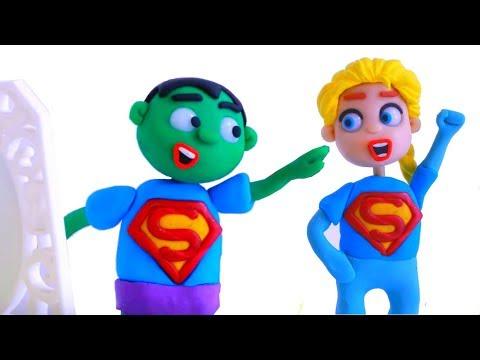 SUPERHERO BABIES LOVE SUPERMAN  Spiderman, Hulk & Frozen Play Doh Cartoons For Kids