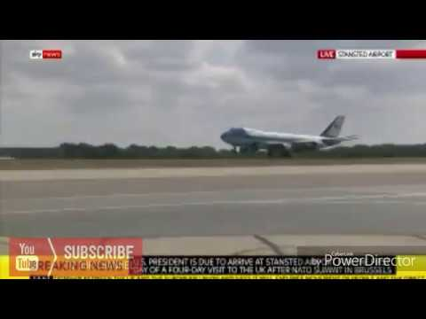 Watch the moment Air Force1 touches down in UK with Trump onboard.