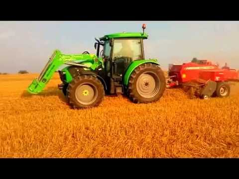 MF 5610 and Deutz Fahr 5110 with MF 1840  and a bale baron (видео)