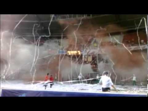 Entrada de la banda del tiburon Junior vs Cali (nuestrapasion tv) - Frente Rojiblanco Sur - Junior de Barranquilla