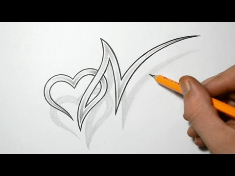 N Alphabet In Heart Letter N And Heart Combined Tattoo Design Ideas For Initials | Foto ...