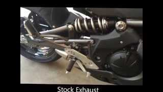 10. 2009 Kawasaki Ninja 650R Two Brothers Slip-On Exhaust Before/After