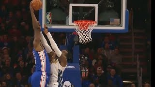 Joel Embiid Dunks on Paul Millsap! Sixers vs Nuggets