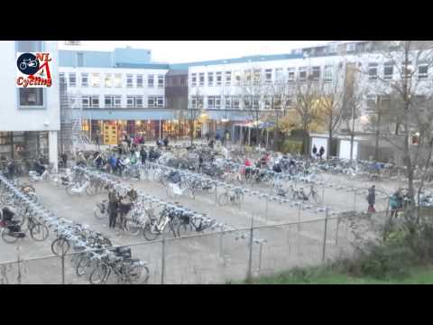 Arriving at school on a bicycle in the Netherlands