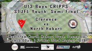 Clarence v North Hobart | Semi Final | U13 Boys CRIPPS STJFL Youth | LIVE STREAM