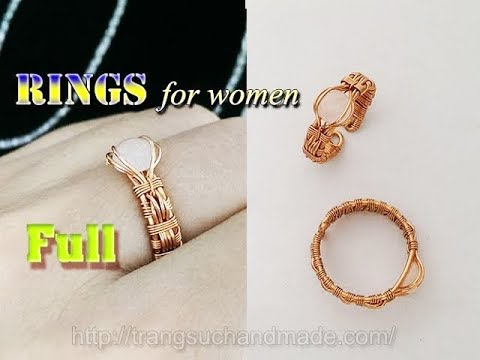 Couple rings part 2 - rings for women from copper wire and small Cabochon 329