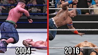 The evolution of John Cena's signature move five knuckle shuffle from year 2004 to 2016 which feature in WWE games from SVR to WWE 2K17.Subscribe to Bestintheworld https://goo.gl/bh0dMlFollow me on Twitter https://goo.gl/g2hpKr