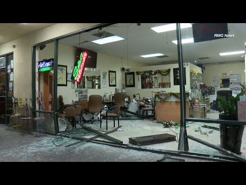 Hit and run driver crashes into a nail salon in South El Monte, California.