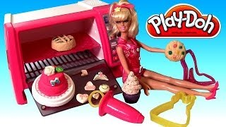 Funtoys Disney Collector presents Barbie Pastry Chef Pink Oven using Playdoh. Are you ready to whip up some sweets treats and desserts with Barbie? Use the o...