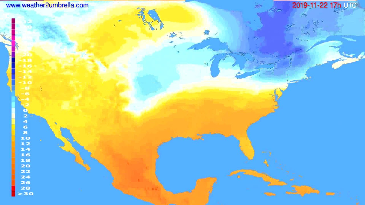 Temperature forecast USA & Canada // modelrun: 12h UTC 2019-11-20