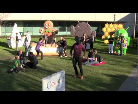 google office - (Enterprise) Googlers doing the Harlem Shake on the Google Campus in the Android garden.
