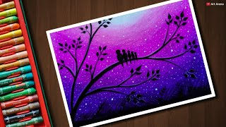 Nonton Love Birds Scenery Drawing For Beginners With Oil Pastels   Step By Step Film Subtitle Indonesia Streaming Movie Download