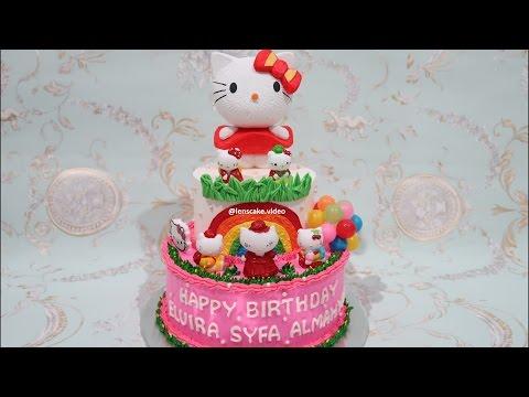 How To Make Birthday Cake Hello Kitty 2 Layers Cara