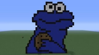 Minecraft Pixel Art: Cookie Monster Tutorial