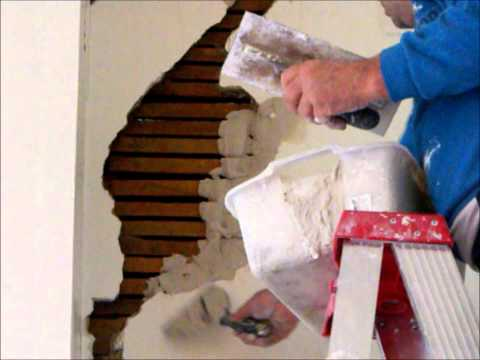 plaster repair - Wall repairs lath & plaster large hole in 1880's Victorian weatherboard house Part 1. For comments or questions message at http://www.hprs.net.