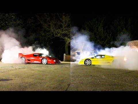 Two Ferrari F50s go head-to-head in tug-of-war battle