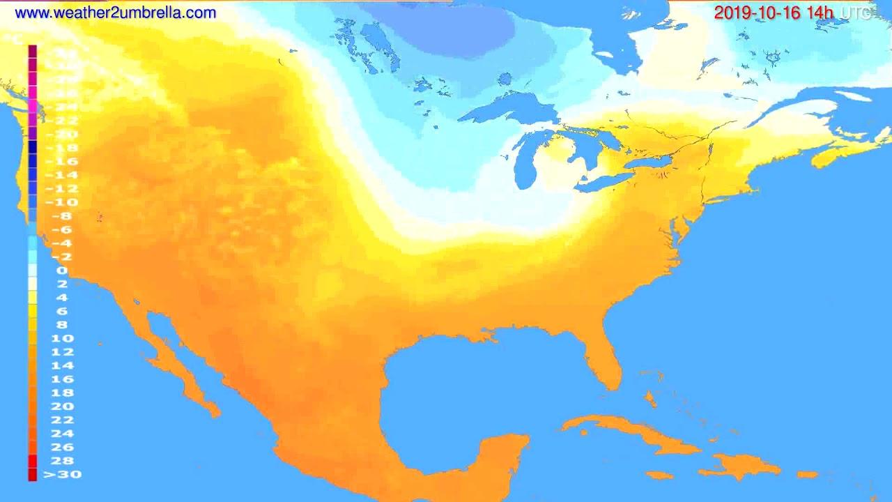 Temperature forecast USA & Canada // modelrun: 12h UTC 2019-10-13