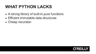 Learn about first-class functions in Python with this video tutorial by Christopher Armstrong. For more free lessons, visit http://oreil.ly/2ctntGb. This lesson is about using Python's built-in functionality to do functional programming. YouTube: https://www.youtube.com/user/OreillyMediaFacebook: https://www.facebook.com/OReilly/?fref=tsTwitter: https://twitter.com/OReillyMediaWebsite: http://www.oreilly.com/