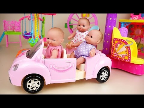 Baby doll pink car and play park toys play (видео)