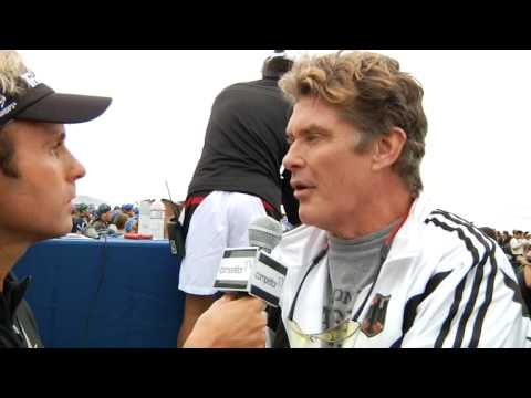 Mitch Thrower interviews David Hasselhoff at Nautica Malibu Triathlon
