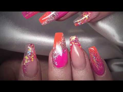 Neon Summer Nails  Acrylic Nails  Nail Art