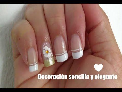Decorados de uñas - Decoracion en 5 minutos sencilla y elegante  - Simple and elegant nail art
