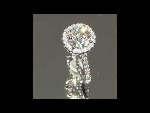 Round Diamond Engagement Ring 1.50 ct in Halo Cathedral Seting