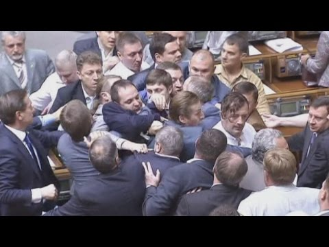 Brawl - A brawl broke out in Ukraine's parliament as ministers voted to approve a presidential decree to call up more military reserves. Report by Laurie Blake.